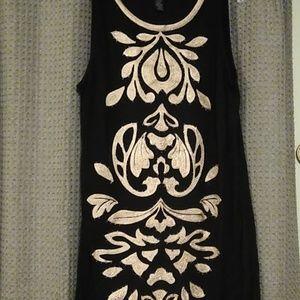 INC soutash sleeveless black/cream dress